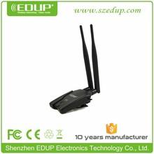 High Power usb 2.0 wireless 802.iin adapter with dual 6dbi antenna