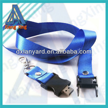 Flat blue USB flash drive lanyard with lobster claw