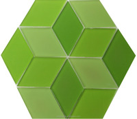 Green hexagon mosaic tiles, art glass mosaic for modern house(T13)