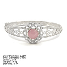 [ CZQ-0041 ] 925 Sterling Silver Jewelry Bangle with Ross Quartz