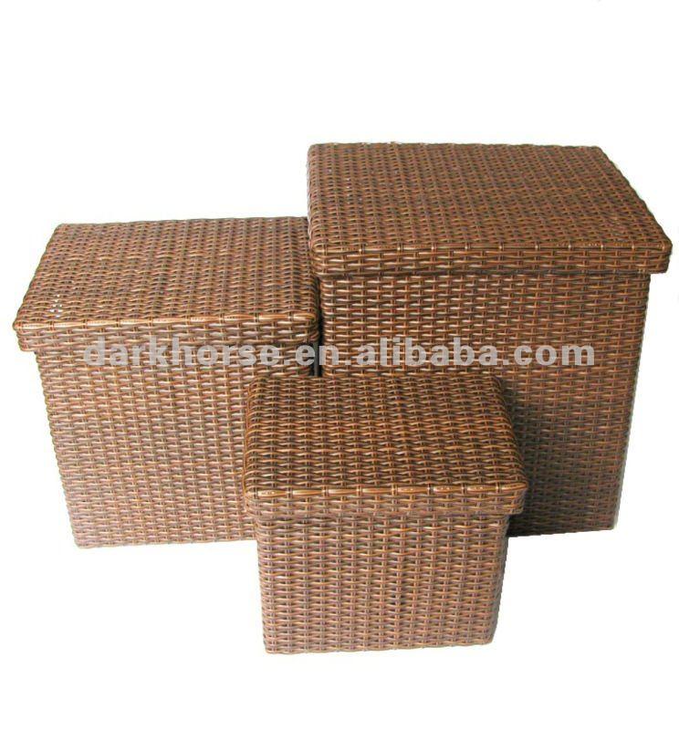 platz kunststoff rattan korb mit deckel satz von drei w schtasche und korb produkt id 314863389. Black Bedroom Furniture Sets. Home Design Ideas