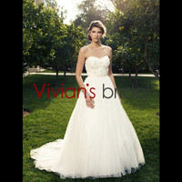 Classic and Timeless Sweetheart Neckline Sleeveless Appliqued Long-length Train Ball Gown Decent Wedding Dress WD380