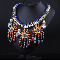 Multi New Vintage Luxury Choker Gold Metal Box Chain with Crystal Flowers & Beads Pendant Statement Necklace for Dress