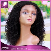 Brazilian hair afro kinky curly human hair wigs brazilian #1b beautiful left side part full lace wigs with baby hair