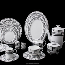 Bone china 20pcs dinnerware set with geometric figure