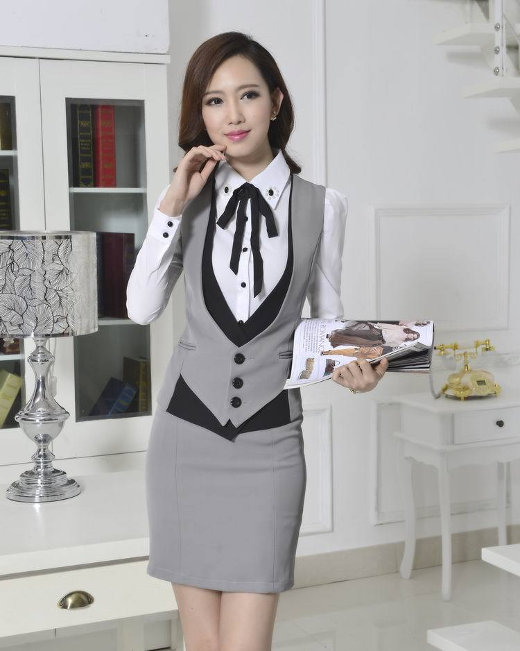 2019 Wholesale New 2015 Novelty Grey Spring Autumn Formal Work Wear ... d7528e2f8fc5