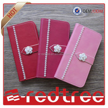 Luxury pearl accessories fashion 3d cell phone case wallet leather mobile cover