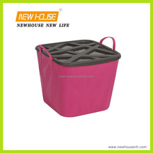 Useful and Colorful Plastic Washing Laundry Basket with Lid