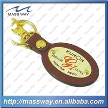 fashion oval customized metal Genuine brown leather keyring