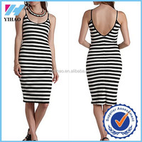 2015 Yihao pictures of girls without dress Striped sexy ladies plain t-shirt dresses T Shirt Skinny Dress