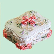 New Pastoral rose design Jewelry Box Birthday Gift Resin