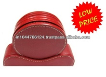 Red Real Leather Coaster / leather drink coasters / custom leather cup coaster