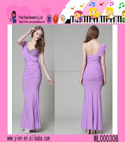 2015 Latest Sexy Ladies Single Shoulder Party Dress Floor Length Hot Top Quality Evening Dinner Dress