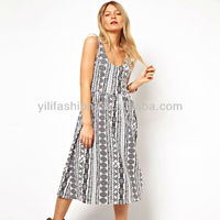 Midi Cotton Sundress with Scoop Back in Aztec Print
