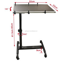 angle & height adjustable portable rolling mobile laptop desk cart table stand
