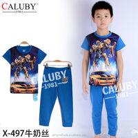 Hot Sales Boys Transformers Cartoon Pyjamas Set Milk Wire Summer Children Pajamas