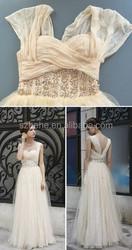 JM.Bridals MZY246 Floor Length Tulle Nude Color Beaded Sweetheart Zip Back Summer Cool Wedding Dress