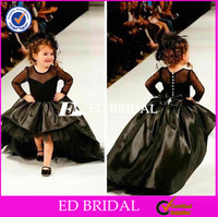 Special Designs Short Front Long Back Black Flower Girl Dress
