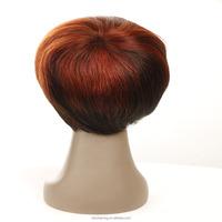 wholesale cheap virgin brazilian hair half wig, red short human hair wig