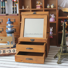 2015 Handmade Wood Jewelry Boxes for Women,Vintage Wooden Chest Jewelry Box with Mirror ,2 Drawer Dark Wood Musical Jewelry Box
