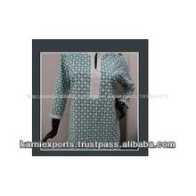 Túnica de algodón en tejidos estampados llamado como blusas para mujer para niñas& impreso tejidos de algodón superior túnicas