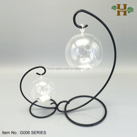 Hebei Factory Clear Glass Candle Holder Hanging Ball