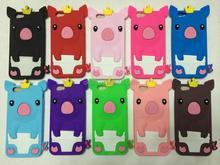 """Belle 3D couronne Pig Silicone Case quatrième de couverture peau pour Apple iPhone 6 4.7 """""""