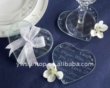 heart shaped clear glass coaster souvenirs wedding giveaway return gift