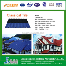 classical 7 waves colorful stone coated metal roofing tile