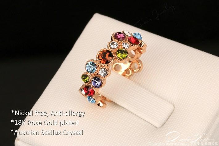 Baños Quimicos Elegantes:Hermoso Regalo Anillo Multicolor Cristales Baño Oro Rosa 18k – S/ 89