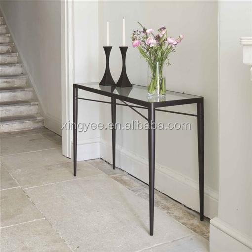 salon moderne en acier inoxydable peinture cadre m tallique verre tremp longue et troite table. Black Bedroom Furniture Sets. Home Design Ideas