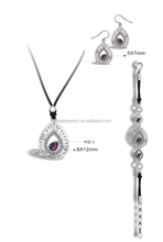 2015 new arrival stainless steel crystal with leather chain jewelry set