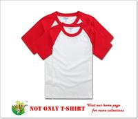 Custom Logo Design Screen Printing Embroidery Red Blank Pain Raglan T-Shirt