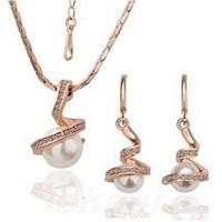 18KS027 White Imitation Pearl 18K Gold Platinum Plated Wedding Jewelry Sets Nickel Free Rhinestone Austrian Element Crystal