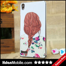 Long Braided Hair Lady PC Design Shell Skin Case for HuaWei Ascend P6