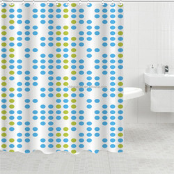 polyester fabric blue and yellow dots print designer shower curtain