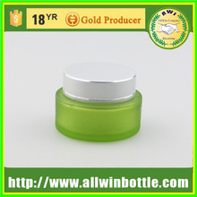 green painted colored glass jar from all win