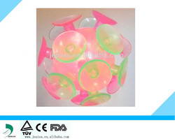 flashing tpr eco-friendly suction cup ball toy for promotional and toys,eco-friendly toys,yellow,red,green ball toy