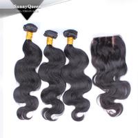 Fashionable Sunny Queen virgin Brazilian natural black body wave hair extension+silk base lace closure