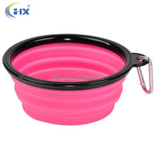 Private label FDA bpa free food grade silicone collapsible dog bowl with hook for travel