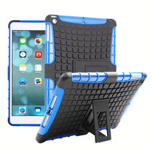 Low MOQ PC+silicone shockproof tough stand case for ipad air best service