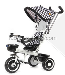 T318 High Quality Safety Children 3 wheel with canopy Tricycle with Pushbar