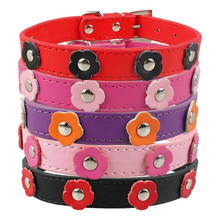 Adjustable flowers studded leather pet collar for cats