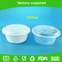 1250ml disposable round lunch box with lock clear and white color