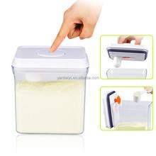 1.7 litros rectángulo ecológico un botón abrir y blanco bloqueo con colgante tapa de plástico fórmula de leche en polvo puede