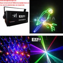 1000 mW RGB Full Color 2D y 3D proyector láser, animación, DMX luz de la navidad 1 W