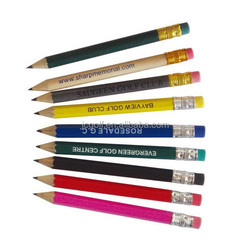 Personalized assorted color logo printed wooden golf pencil