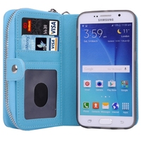 Zipper and Lanyard Detachable Wallet Bag Leather Case for Samsung Galaxy S6 Cover