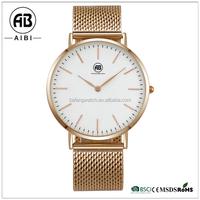 2015 hot sale custom logo high quality stainless steel rose gold interchangeable strap men quartz hand watch