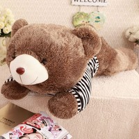 """0.80M/1.20M promotional cusotmzied """"hedgehog""""-style sweater lying teddy bear toy with navy knitted striped sweater"""